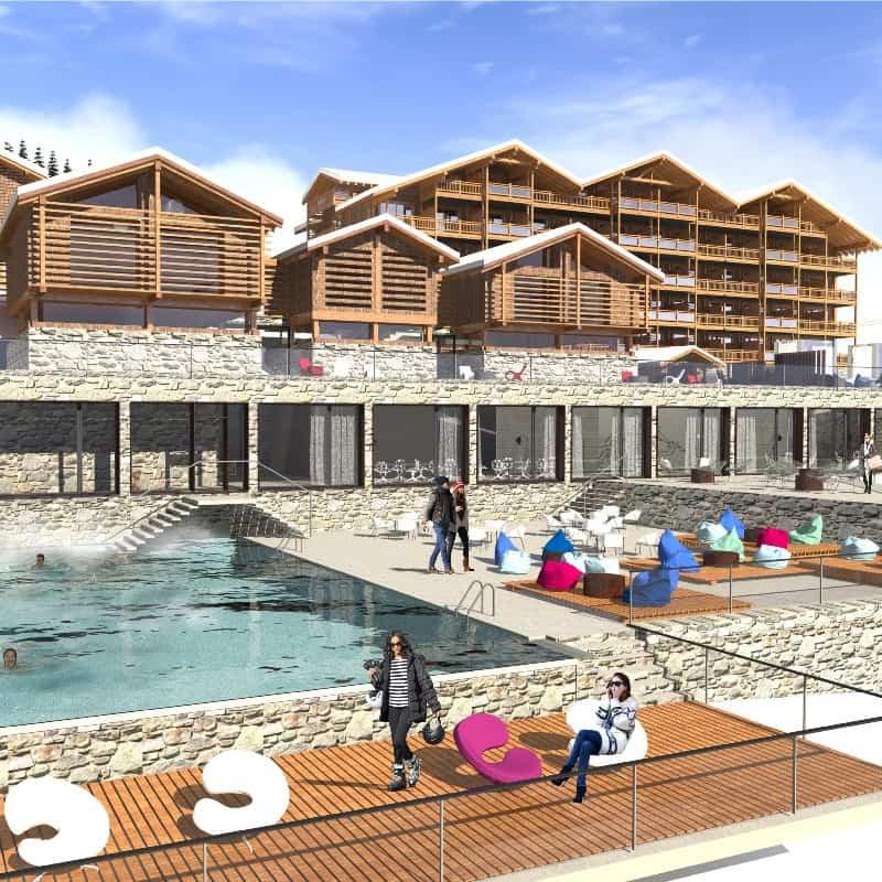 Maquette du complexe thermale Dixence Resort en Valais